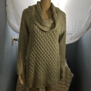 Hannah Cowl Neck Cable Knit Sweater Tan